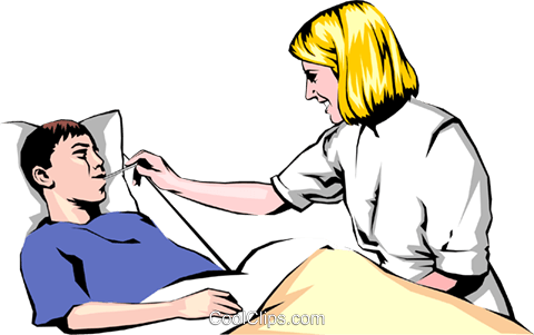 Nurse checking for a fever Royalty Free Vector Clip Art illustration peop0710