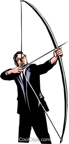 Man shooting an arrow Royalty Free Vector Clip Art illustration peop0720