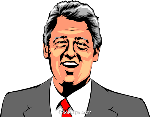 Bill Clinton Royalty Free Vector Clip Art illustration peop0721