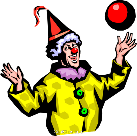 Clown with ball Royalty Free Vector Clip Art illustration peop0726