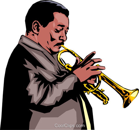 Trumpet player Royalty Free Vector Clip Art illustration peop0733
