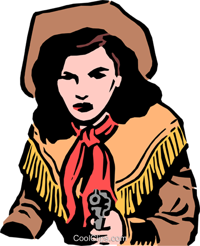 Cowgirl with a gun Royalty Free Vector Clip Art illustration peop0741