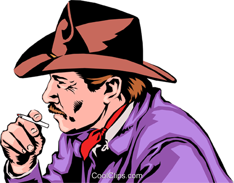 Cowboy smoking Royalty Free Vector Clip Art illustration peop0742