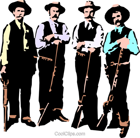 Old west gun fighters Royalty Free Vector Clip Art illustration peop0743