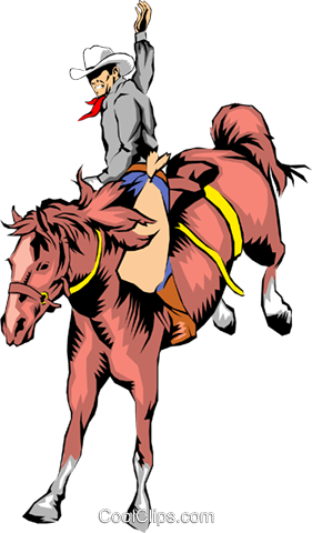 Cowboy riding a horse Royalty Free Vector Clip Art illustration peop0744