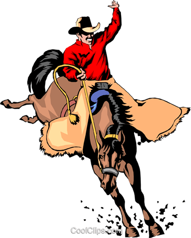 Cowboy riding a horse Royalty Free Vector Clip Art illustration peop0748