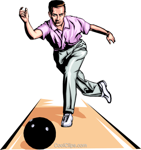 Bowler throwing ball Royalty Free Vector Clip Art illustration peop1266