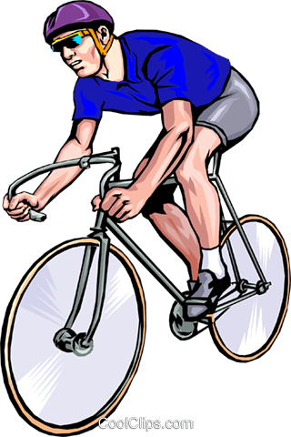 Man racing with bicycle Royalty Free Vector Clip Art illustration peop1269