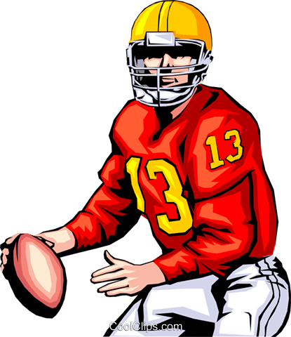 Quarterback ready to pass Royalty Free Vector Clip Art illustration peop1276