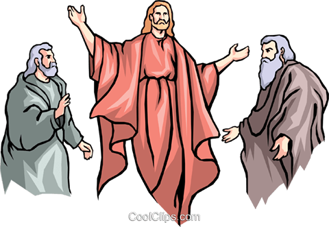 Christ with Moses and Noah Royalty Free Vector Clip Art illustration reli0016