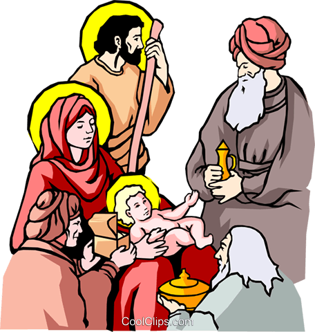Nativity scene Royalty Free Vector Clip Art illustration reli0024