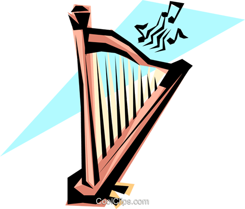 Cool harp Royalty Free Vector Clip Art illustration arts0054