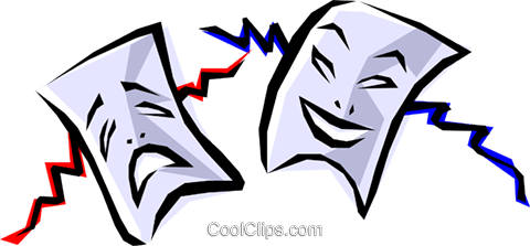 Theatrical masks Royalty Free Vector Clip Art illustration arts0066