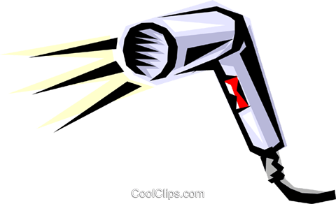 cartoon blow-dryer blowing air Royalty Free Vector Clip Art illustration hous0173