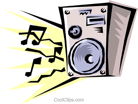 Stereo speakers Royalty Free Vector Clip Art illustration hous0187