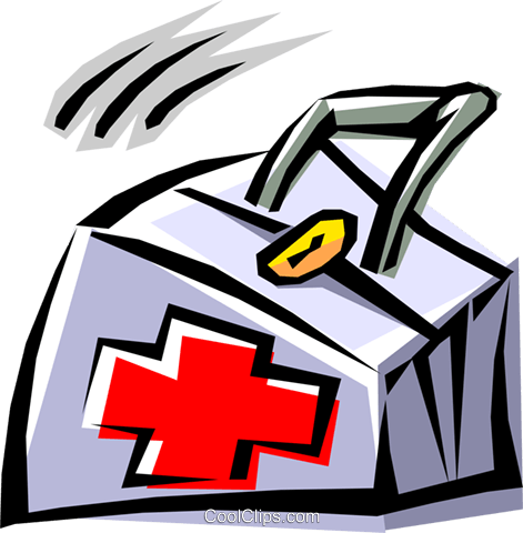 Cool first aid bag Royalty Free Vector Clip Art illustration medi0123