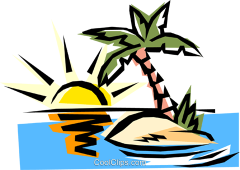 Deserted island Royalty Free Vector Clip Art illustration natu0155