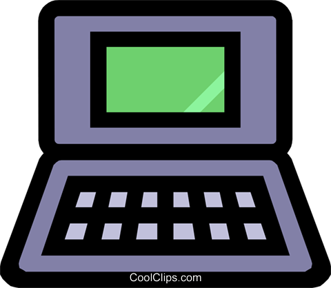 Symbol of a laptop computer Royalty Free Vector Clip Art illustration busi0426