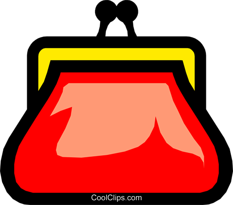 Symbol of a coin purse Royalty Free Vector Clip Art illustration busi0443
