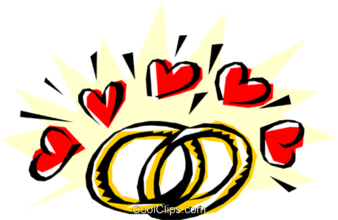 Wedding rings with hearts Royalty Free Vector Clip Art illustration even0016