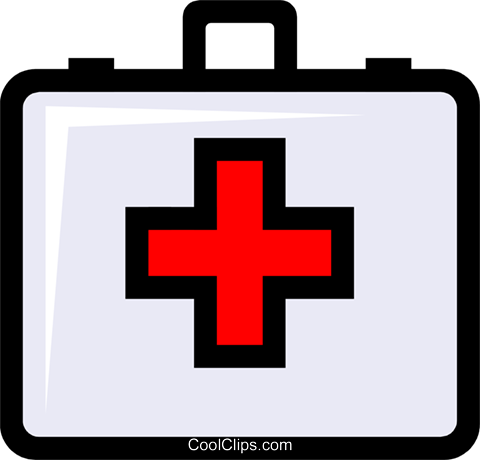 Symbol of a first aid kit Royalty Free Vector Clip Art illustration medi0195
