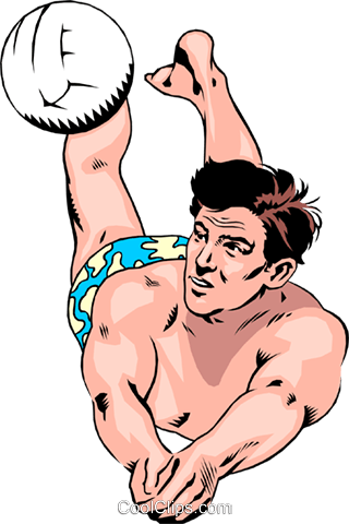 Beach volleyball player digging ball Royalty Free Vector Clip Art illustration peop1292