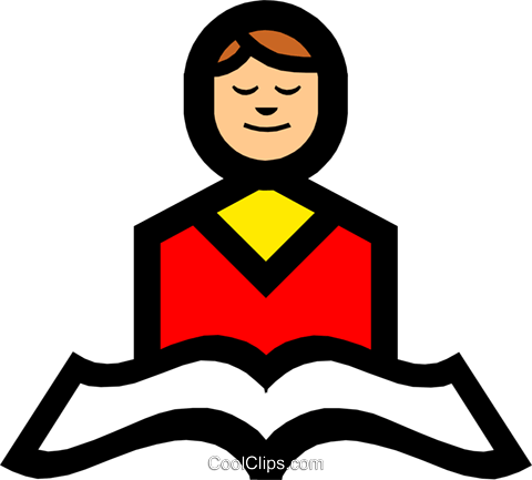 Symbol of person reading from scriptures Royalty Free Vector Clip Art illustration reli0072