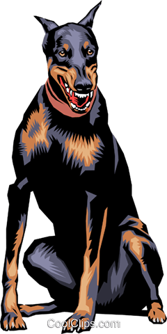 Doberman Pinscher dog Royalty Free Vector Clip Art illustration anim0013