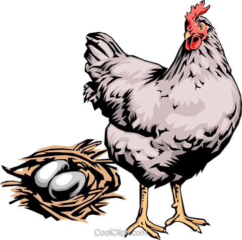 Hen with eggs Royalty Free Vector Clip Art illustration anim0017