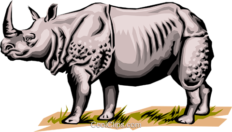 Rhinoceros Royalty Free Vector Clip Art illustration anim0026