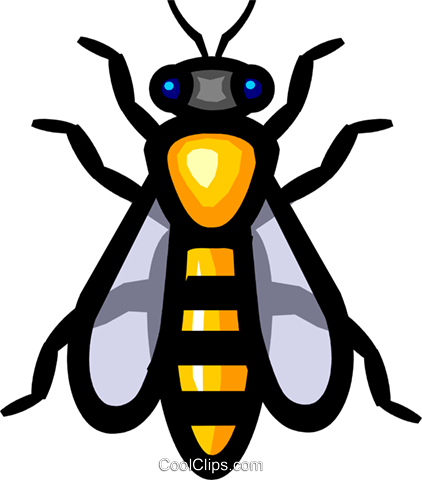 Symbol of a wasp Royalty Free Vector Clip Art illustration anim0622