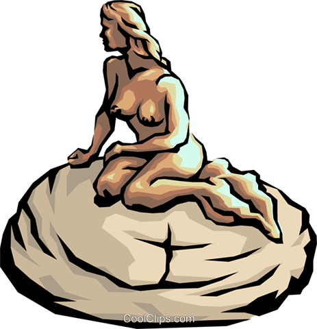 Mermaid on a rock Royalty Free Vector Clip Art illustration arts0045