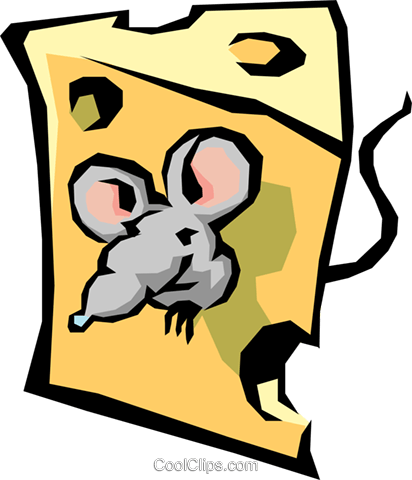 Cheese with mouse Royalty Free Vector Clip Art illustration food0260