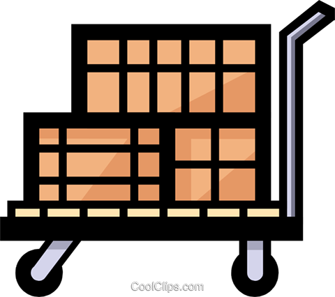 Symbol of a shipping cart Royalty Free Vector Clip Art illustration indu0451