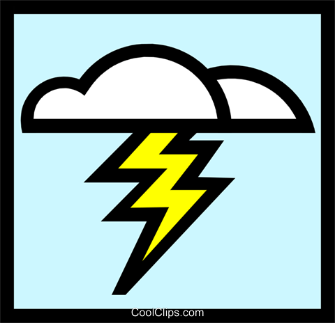 Symbol for weather lightening Royalty Free Vector Clip Art illustration natu0237