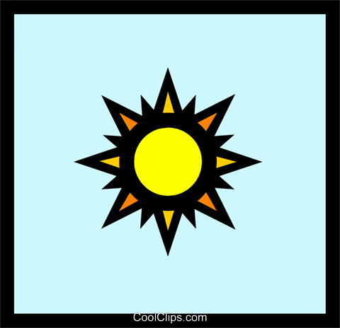 Symbol for weather sunny Royalty Free Vector Clip Art illustration natu0239