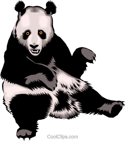 Panda Bears Royalty Free Vector Clip Art illustration anim0400