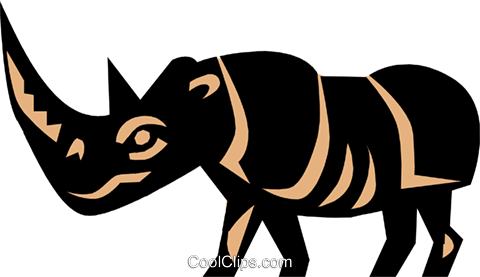 Cool rhino Royalty Free Vector Clip Art illustration anim0638