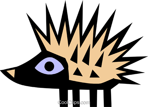 Cool porcupine Royalty Free Vector Clip Art illustration anim0644