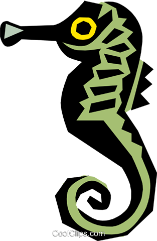 Cool seahorse Royalty Free Vector Clip Art illustration anim0674