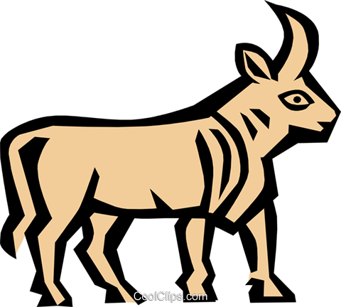 Cool bull Royalty Free Vector Clip Art illustration anim0682