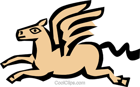Winged horse Royalty Free Vector Clip Art illustration anim0685