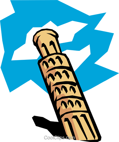 Leaning Tower of Pisa Royalty Free Vector Clip Art illustration arch0093
