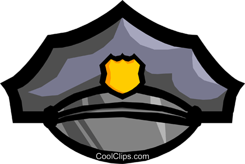 Symbol of a policeman's cap Royalty Free Vector Clip Art illustration busi0480