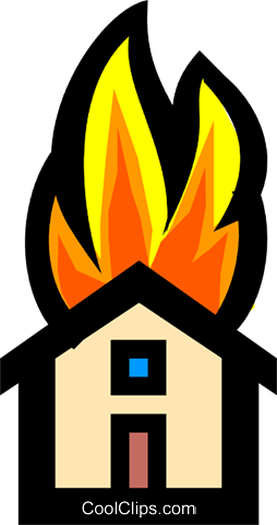 Symbol of a house on fire Royalty Free Vector Clip Art illustration envi0113