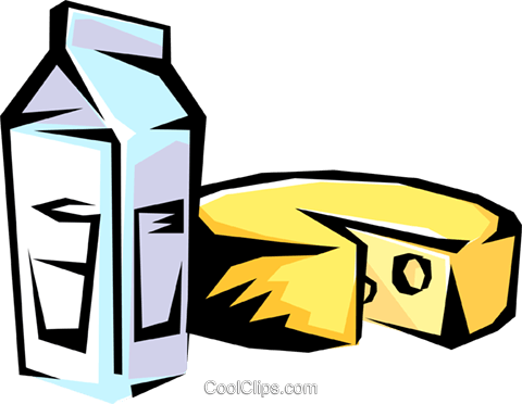 Milk and cheese Royalty Free Vector Clip Art illustration food0256