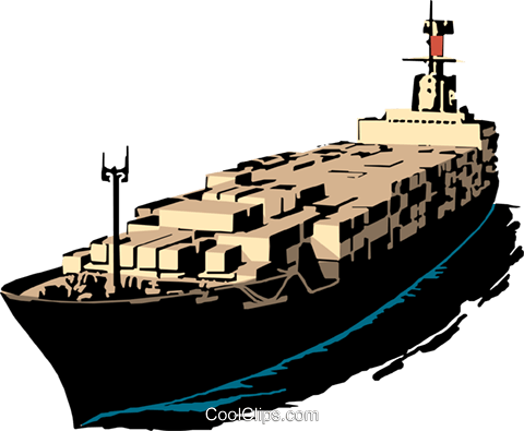 Cargo ship Royalty Free Vector Clip Art illustration tran0178