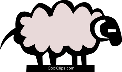 Cool sheep Royalty Free Vector Clip Art illustration anim0716