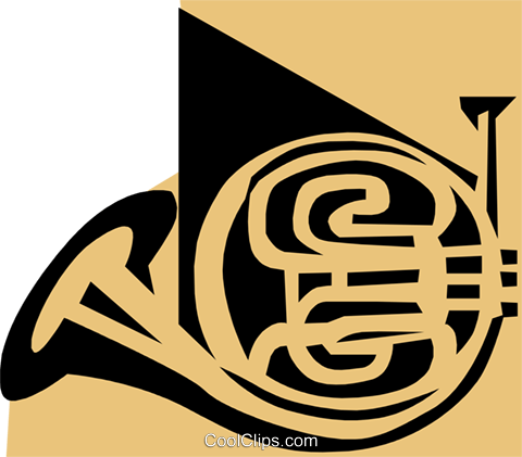 French horn symbol Royalty Free Vector Clip Art illustration arts0167