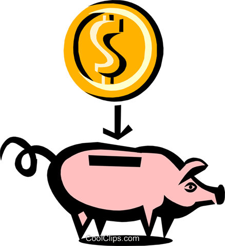 Cool piggy bank Royalty Free Vector Clip Art illustration busi0482